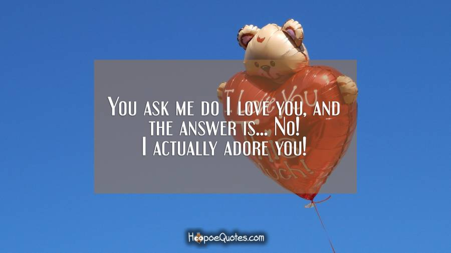 You ask me do I love you, and the answer is... No! I actually adore you! I Love You Quotes