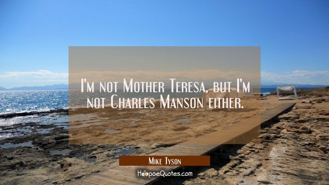 I'm not Mother Teresa but I'm not Charles Manson either.