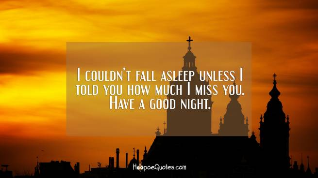 I couldn't fall asleep unless I told you how much I miss you. Have a good night.