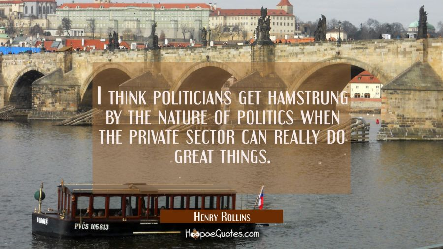 I think politicians get hamstrung by the nature of politics when the private sector can really do g Henry Rollins Quotes
