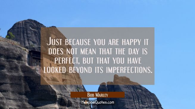 Just because you are happy it does not mean that the day is perfect but that you have looked beyond its imperfections.