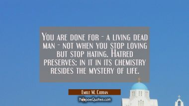 You are done for - a living dead man - not when you stop loving but stop hating. Hatred preserves: Emile M. Cioran Quotes