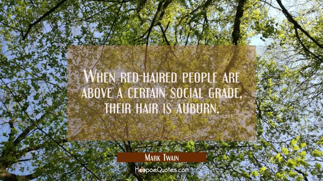 When red-haired people are above a certain social grade their hair is auburn.