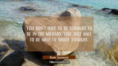 You don't have to be straight to be in the military, you just have to be able to shoot straight. Barry Goldwater Quotes