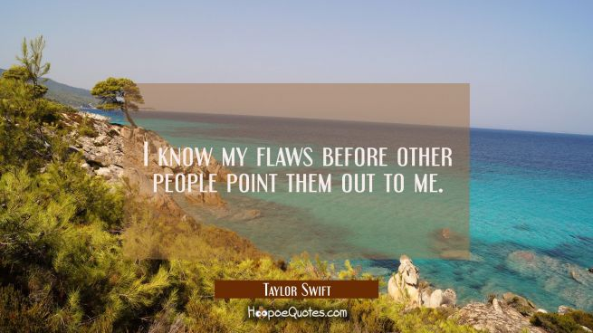I know my flaws before other people point them out to me.