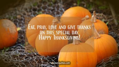 Eat, pray, love and give thanks on this special day. Happy Thanksgiving! Thanksgiving Quotes