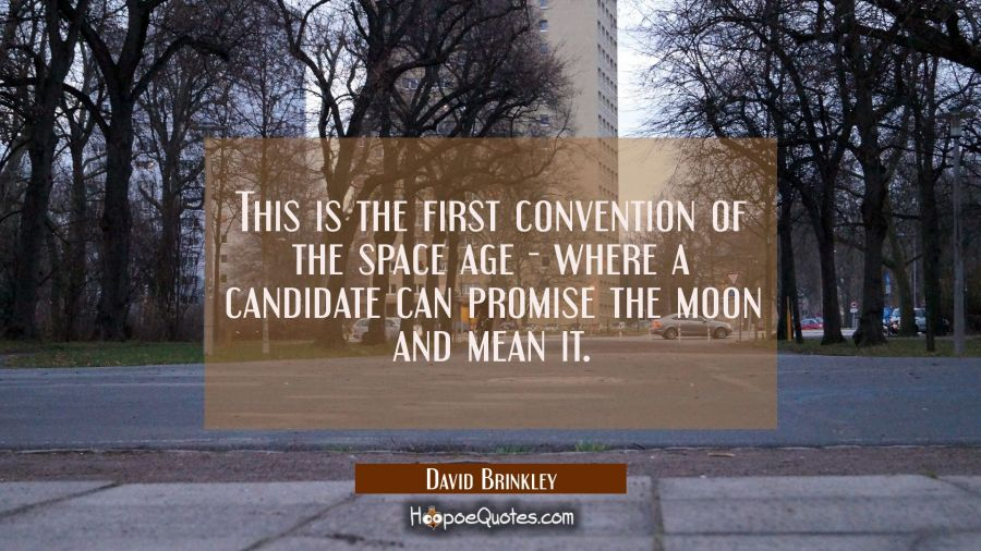 This is the first convention of the space age - where a candidate can promise the moon and mean it. David Brinkley Quotes