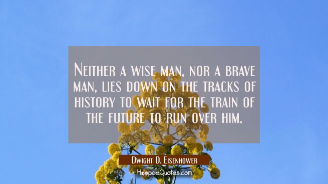 Neither a wise man nor a brave man lies down on the tracks of history to wait for the train of the