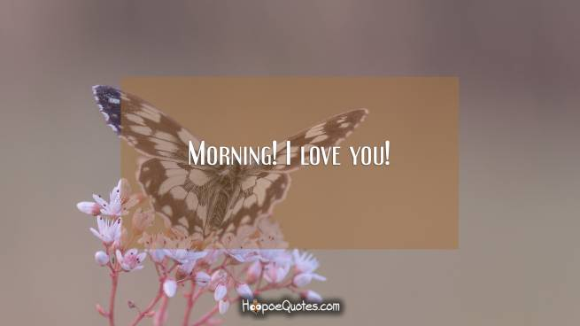 Morning! I love you!