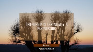 Friendship is essentially a partnership. Aristotle Quotes