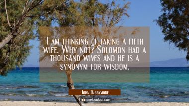 I am thinking of taking a fifth wife. Why not? Solomon had a thousand wives and he is a synonym for