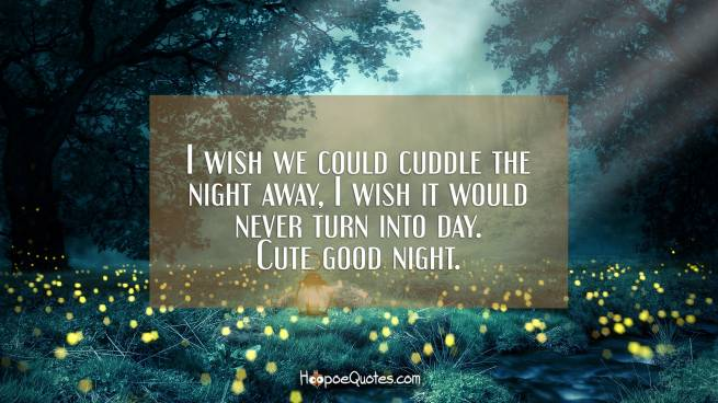 I wish we could cuddle the night away, I wish it would never turn into day. Cute good night.