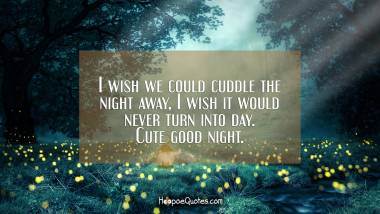 I wish we could cuddle the night away, I wish it would never turn into day. Cute good night. Good Night Quotes
