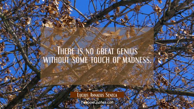 There is no great genius without some touch of madness.