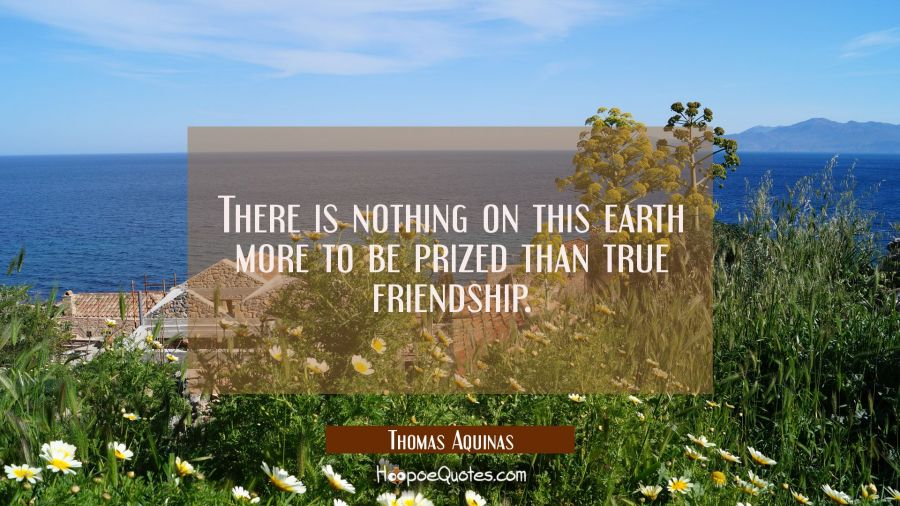 There is nothing on this earth more to be prized than true friendship. Thomas Aquinas Quotes