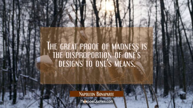 The great proof of madness is the disproportion of one's designs to one's means.