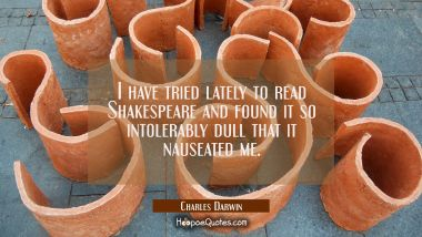 I have tried lately to read Shakespeare and found it so intolerably dull that it nauseated me.