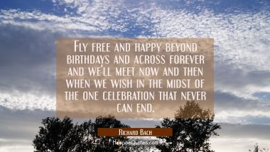 Fly free and happy beyond birthdays and across forever and we'll meet now and then when we wish in Richard Bach Quotes
