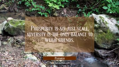 Prosperity is no just scale, adversity is the only balance to weigh friends.