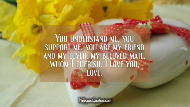 You understand me, you support me, you are my friend and my lover, my beloved mate, whom I cherish. I love you, love.