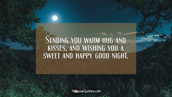 Sending you warm hug and kisses, and wishing you a sweet and happy good night.