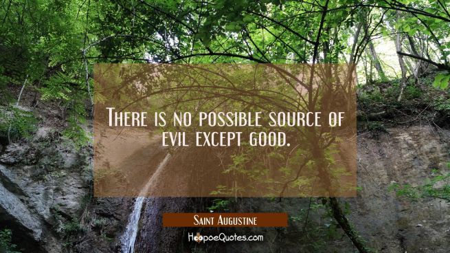There is no possible source of evil except good.
