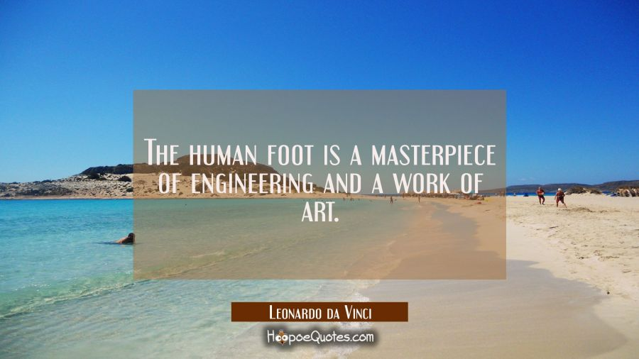 The human foot is a masterpiece of engineering and a work of art. Leonardo da Vinci Quotes