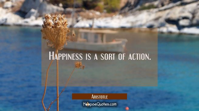Happiness is a sort of action.