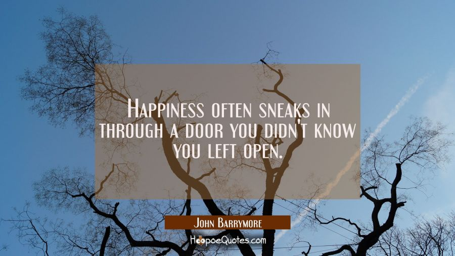 Happiness often sneaks in through a door you didn't know you left open. John Barrymore Quotes