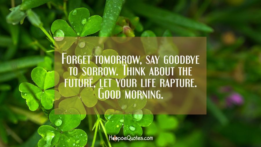 Forget tomorrow, say goodbye to sorrow. Think about the future, let your life rapture. Good morning. Good Morning Quotes