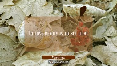 To love beauty is to see light.