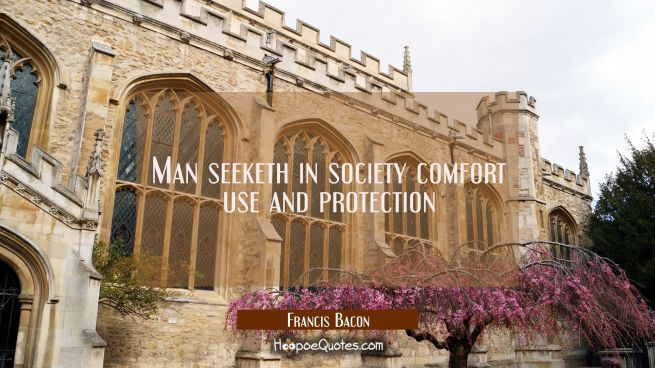 Man seeketh in society comfort use and protection