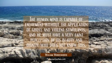 The human mind is capable of excitement without the application of gross and violent stimulants, an