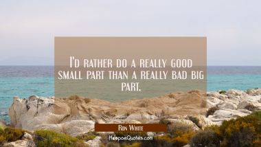 I'd rather do a really good small part than a really bad big part.