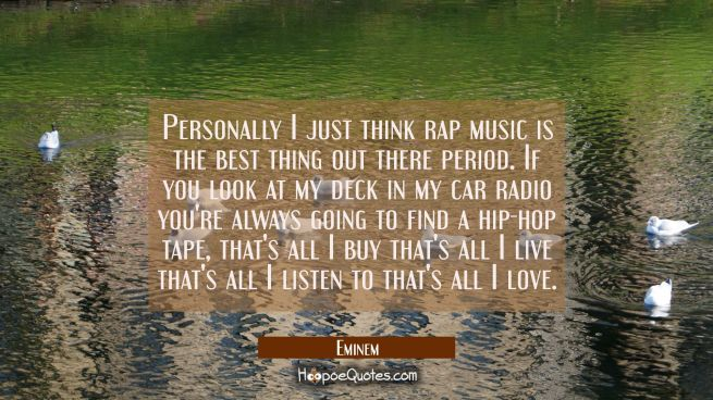 Personally I just think rap music is the best thing out there period. If you look at my deck in my