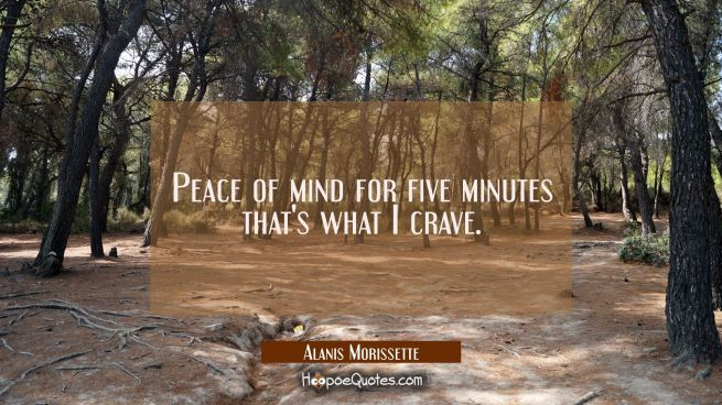Peace of mind for five minutes that's what I crave.