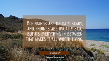 Beginnings are usually scary, and endings are usually sad, but its everything in between that makes it all worth living. Bob Marley Quotes