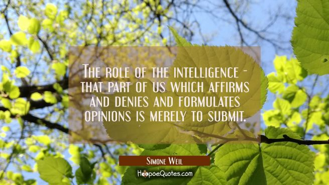 The role of the intelligence - that part of us which affirms and denies and formulates opinions is
