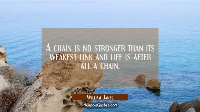 A chain is no stronger than its weakest link and life is after all a chain.