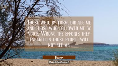 Those who by form did see me and those who followed me by voice. Wrong the efforts they engaged in