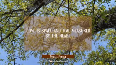 Love is space and time measured by the heart.