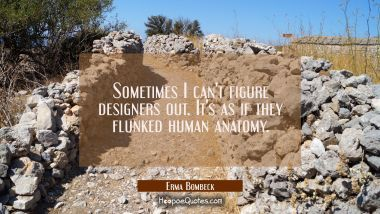 Sometimes I can't figure designers out. It's as if they flunked human anatomy. Erma Bombeck Quotes