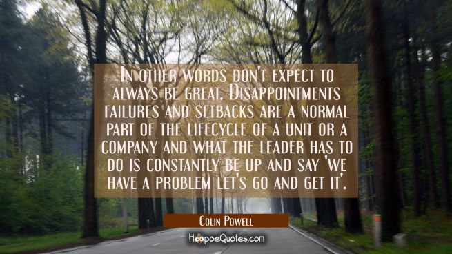 In other words don't expect to always be great. Disappointments failures and setbacks are a normal
