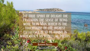 The true spirit of delight the exaltation the sense of being more than Man which is the touchstone