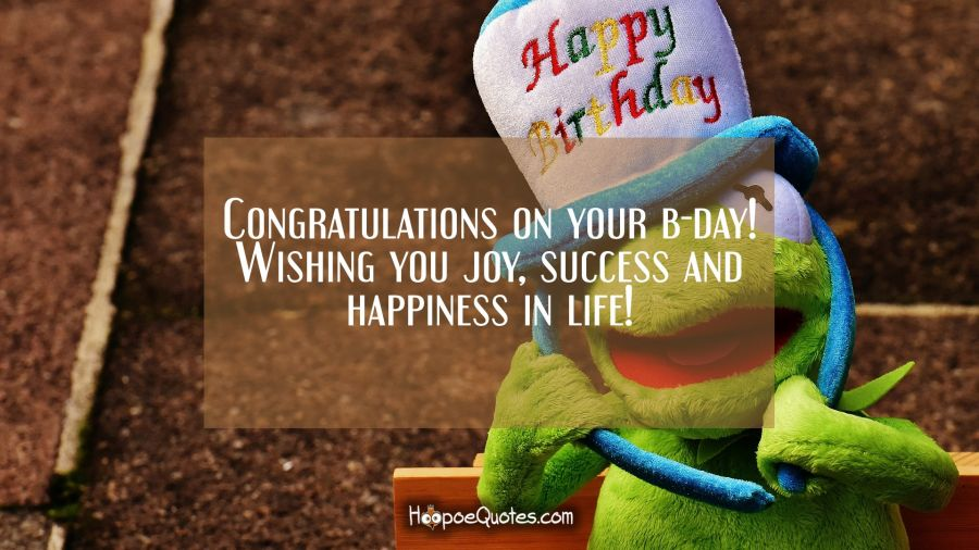 Congratulations on your b-day! Wishing you joy, success and happiness in life! Birthday Quotes