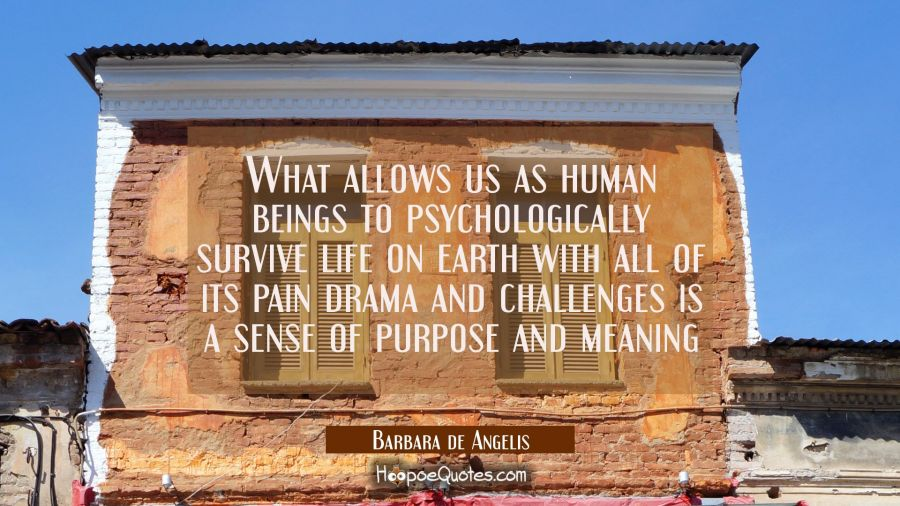 What allows us as human beings to psychologically survive life on earth with all of its pain drama Barbara de Angelis Quotes