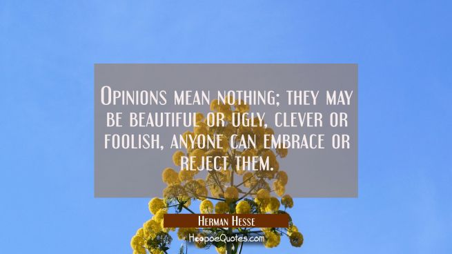 Opinions mean nothing; they may be beautiful or ugly, clever or foolish, anyone can embrace or reject them.