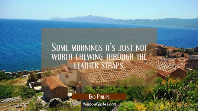 Some mornings it's just not worth chewing through the leather straps.