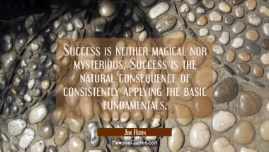Success is neither magical nor mysterious. Success is the natural consequence of consistently apply