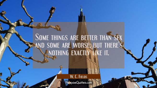 Some things are better than sex and some are worse but there's nothing exactly like it.